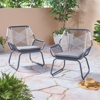 Milan Outdoor Faux Rattan Club Chair (Set of 2) by Christopher Knight Home