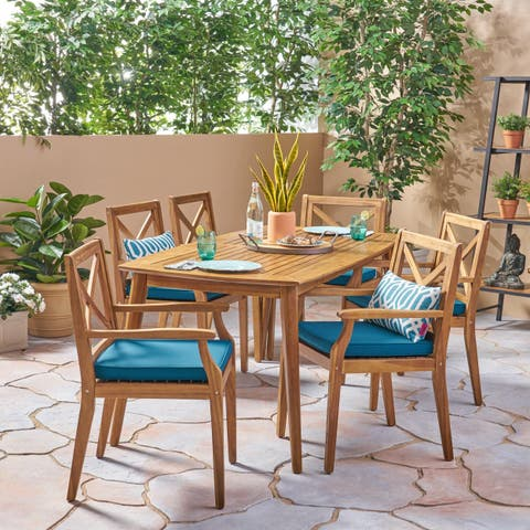 Llano Outdoor 7 Piece Acacia Dining Set by Christopher Knight Home