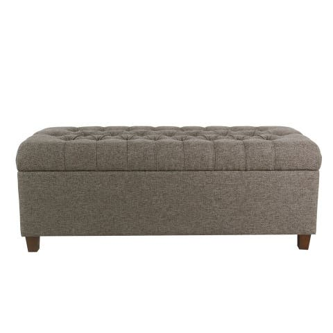 """HomePop Macalester 48"""" Tufted Storage Bench - Gray"""
