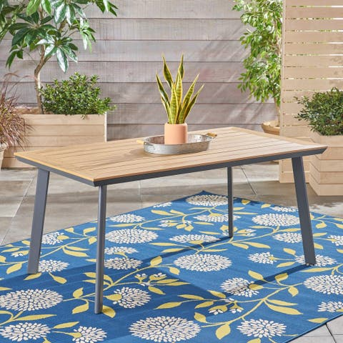 """Leeds Outdoor Aluminum and Wood Dining Table by Christopher Knight Home - 28.75""""H x 63""""W x 35.50""""D"""