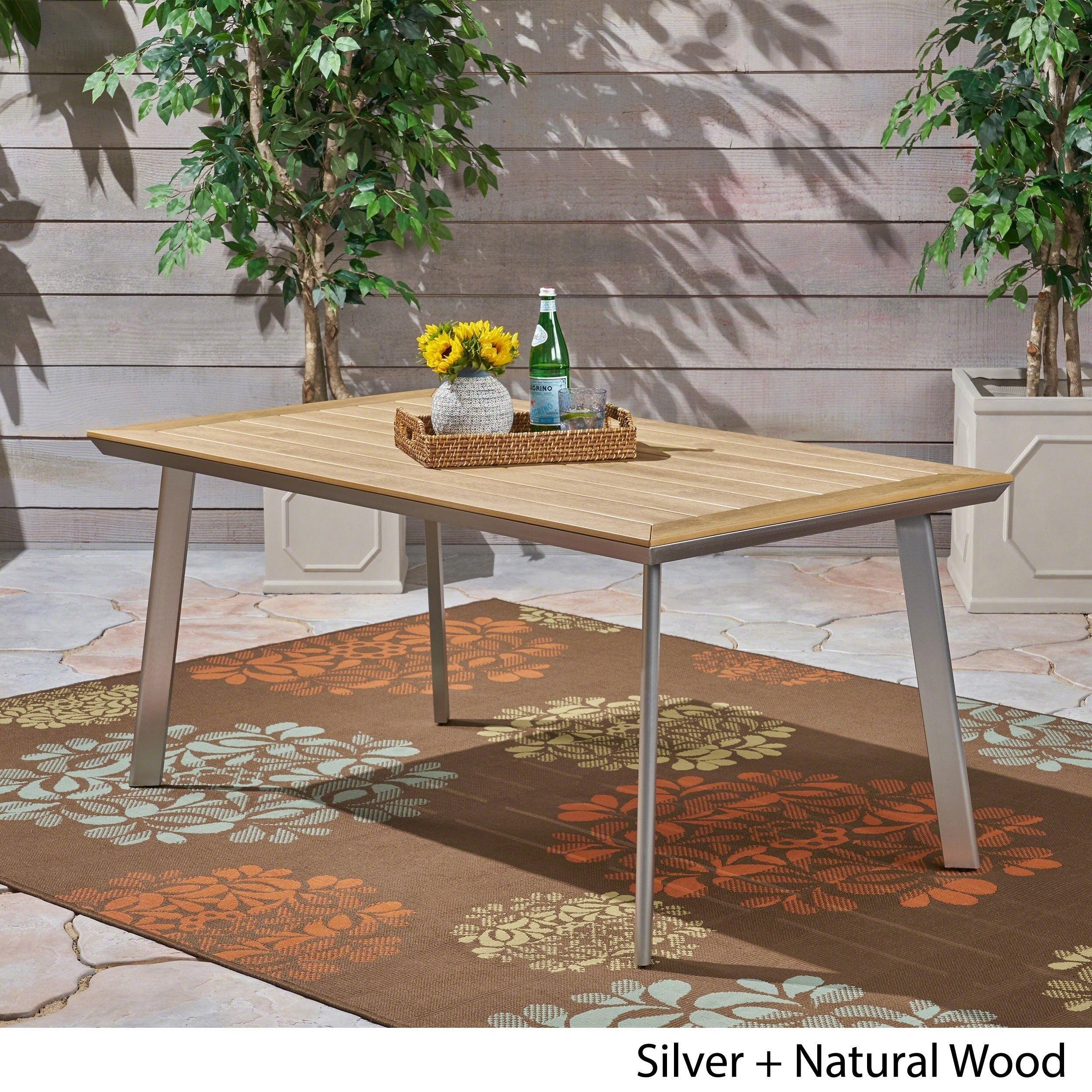Outdoor Aluminum And Wood Dining Table