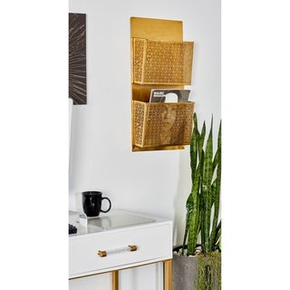 The Curated Nomad Avery Modern Iron Lattice-Designed 2-pocket Wall-Mounted Letter Holder