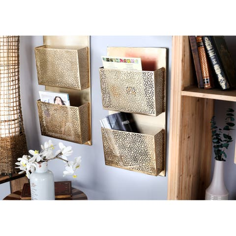 The Curated Nomad Avery Modern Iron Perforated-Designed Gold 2-pocket Wall Letter Holder