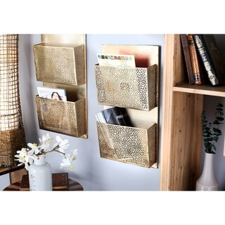 Palm Canyon Avery Modern Iron Perforated-Designed Gold 2-pocket Wall Letter Holder