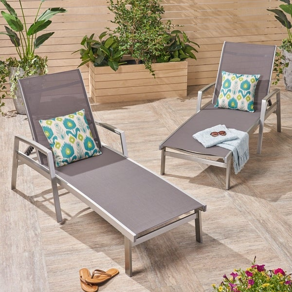 Oxton Outdoor Aluminum Chaise Lounge (Set of 2) by Christopher Knight Home