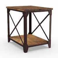 Carbon Loft Michael Distressed Pine Wood Side Table