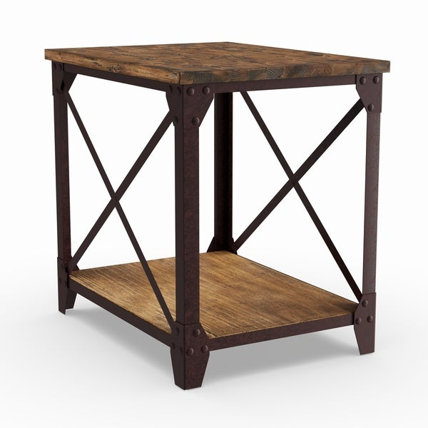 Carbon Loft Michael Distressed Pine Wood Side Table. Opens flyout.
