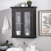 Glitzhome Wall Cabinet with Double Doors, Espresso