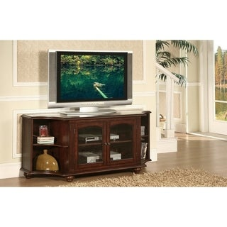 Concave 2 Door And 4 Side Shelved Wooden TV Stand IN Wood, Cherry Brown Finish