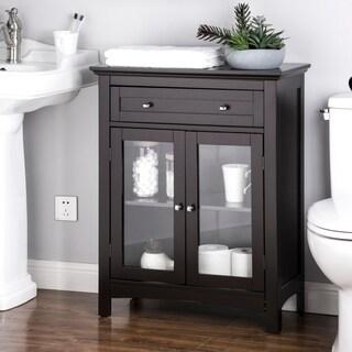 Glitzhome Shelved Floor Cabinet with Double Doors, Espresso