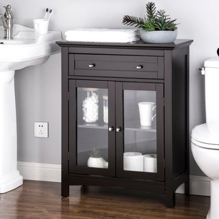 Glitzhome Shelved Floor Cabinet with Double Doors, Espresso