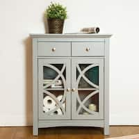 Glitzhome Floor Cabinet with Double Doors and Drawer, Gray
