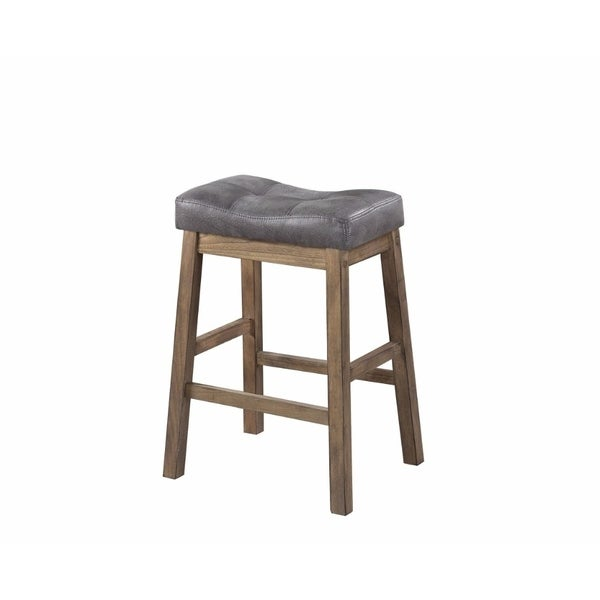 Shop Wooden Rustic Backless Counter Height Stool Gray