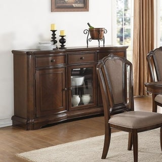 Transitional Style Poplar Wood Server, Brown