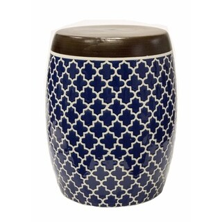 Sarai Ceramic Garden Stool, Blue and White