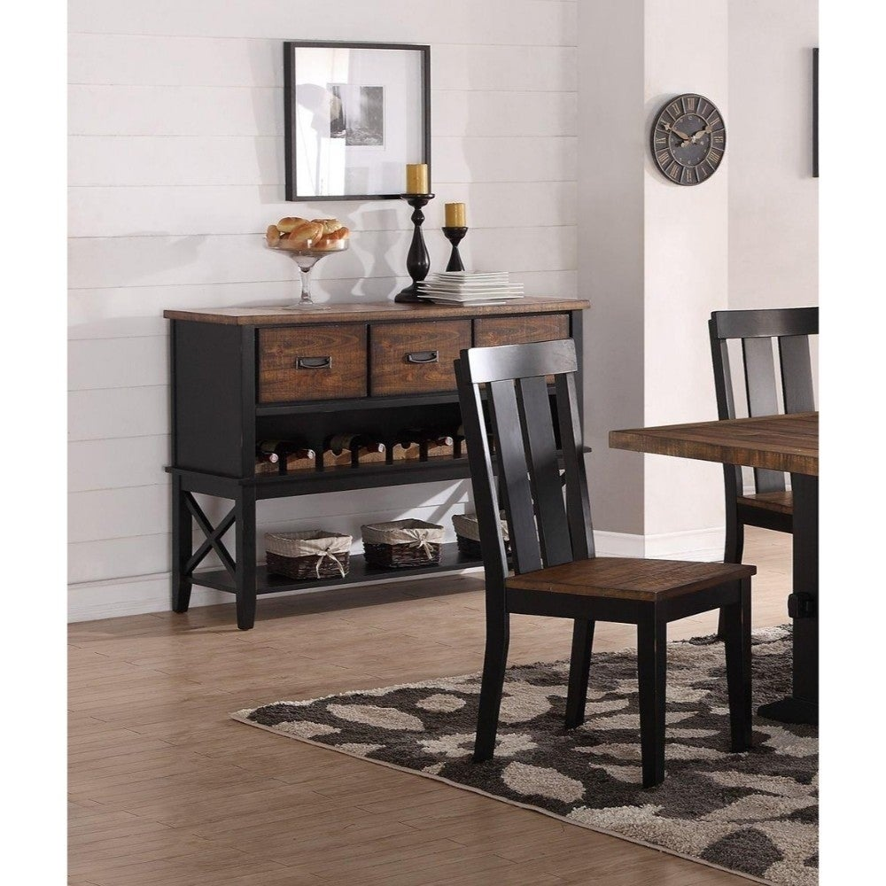 Benzara Dual Tone Rubber Wood Serverr With Spacious Storages Black and Brown (Brown)