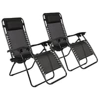 2 Pack Folding Recliner Zero Gravity Chaise Lounge Chair W/Cup Holder Black 4 Colors