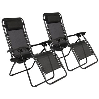 2 Pack Folding Recliner Zero Gravity Chaise Lounge Chair W/Cup Holder Black