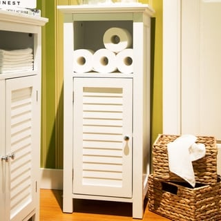 Glitzhome Floor Cabinet with  1 Shutter-Door,White
