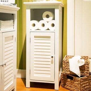 Glitzhome Floor Cabinet with 1 Shutter-Door,White