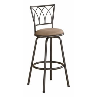 Traditional Armless Bar Height Stool, Brown & Black, Set of 2