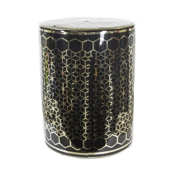 Remarkable Cylindrical Ceramic Garden Stool, Gold And Black