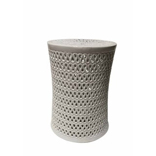 Appealing Ceramic Pierced Garden Stool, White