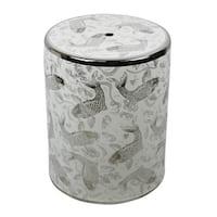 Ceramic Garden Stool With Koi Motif, Silver/White