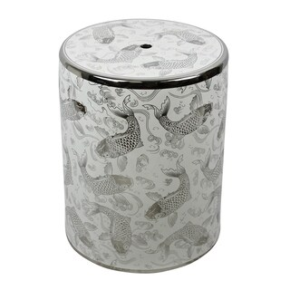 Ceramic Garden Stool With Koi Motif, Silver/White