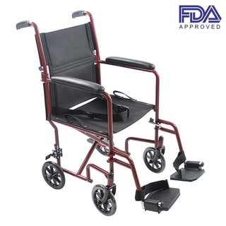 Mefeir Lightweight Transport Adult Folding Wheelchair Oxford Cloth Red