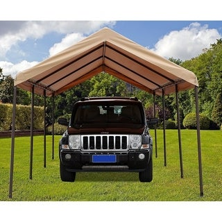 SORARA Carport Heavy DutyAll-Purpose Car Canopy Storage Shelter,Beige - Beige