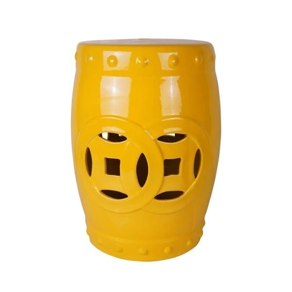 Modish Ceramic Garden Stool, Yellow