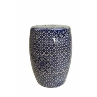 Exquisite Ceramic Garden Stool, Blue And White