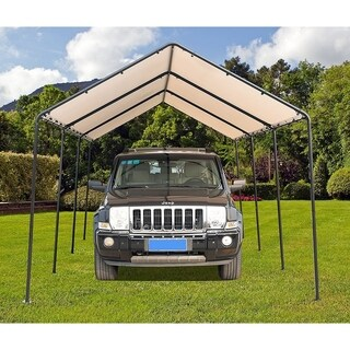 SORARA Carport 10' x 20'Car Canopy Gazebo with 8 Steel Legs, White