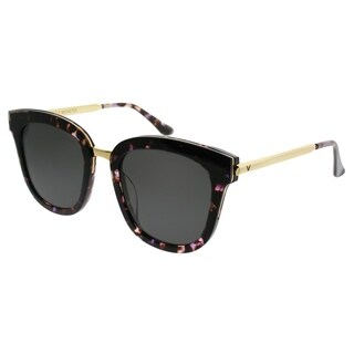 Gentle Monster Square Absente One PD1 Women Dark Purple Havana Gold Frame Grey Lens Sunglasses