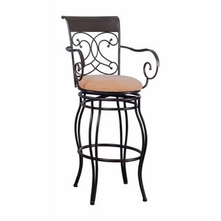 Traditional Scroll Bar Height Stool, Brown