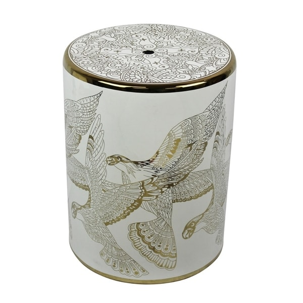 Ceramic Bird Design Garden Stool, Gold/White