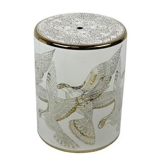 Ceramic Bird Design Garden Stool, Gold/White