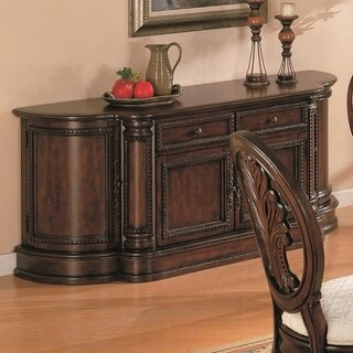 Traditional Style Wooden Dining Buffet Server, Dark Cherry Brown