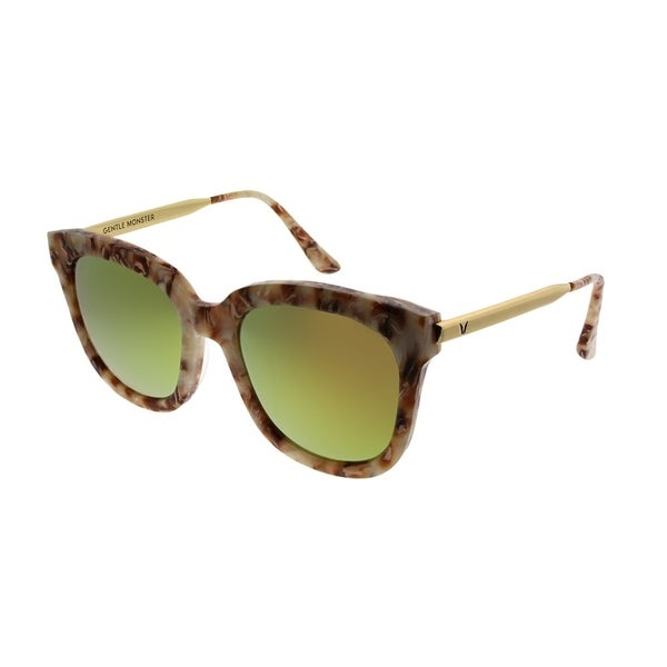 549652c870a3 Gentle Monster Square Absente GD3(M) Women Brown Marble Gold Frame Red  Mirror Lens