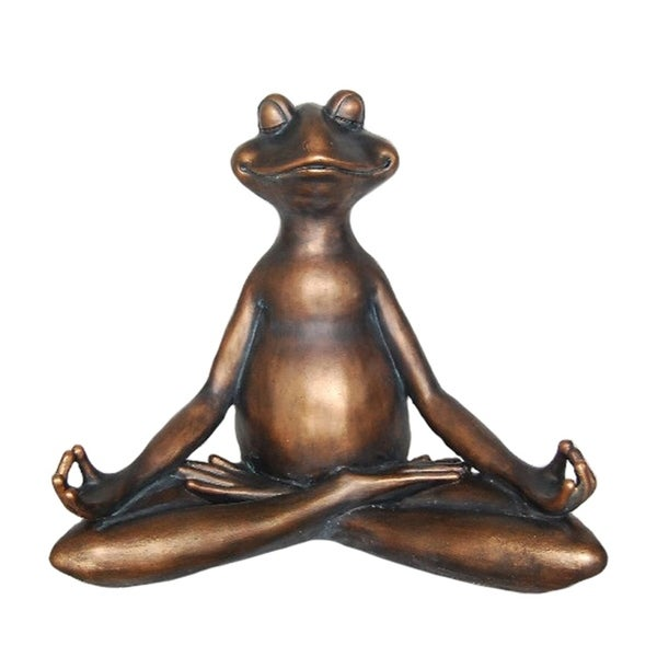 Ideally Peculiar Decorative Resin Yoga Frog, Copper