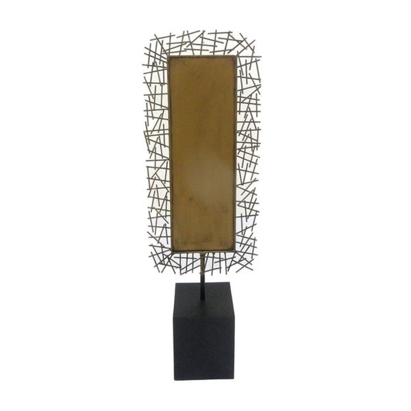 Trendy Metal Tabletop With Base, Gold, Large