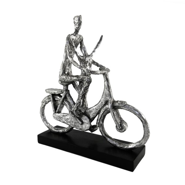 Dazzling Polyresin Man On Bicycle Figurine, Silver