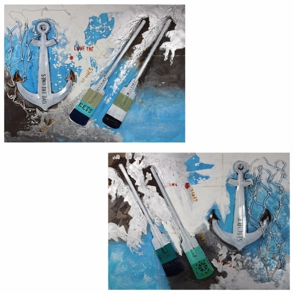 Anchor Oil Painting Print Set On Canvas,White,Set Of Two