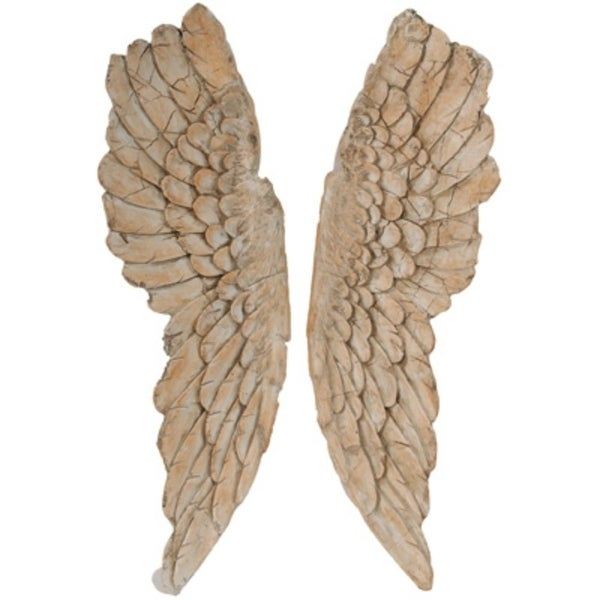 Angel Wings Statue Wall Art, Set of 2, Brown