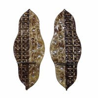 Illumininating Patterned Metal Decor, Brown, Set Of 2