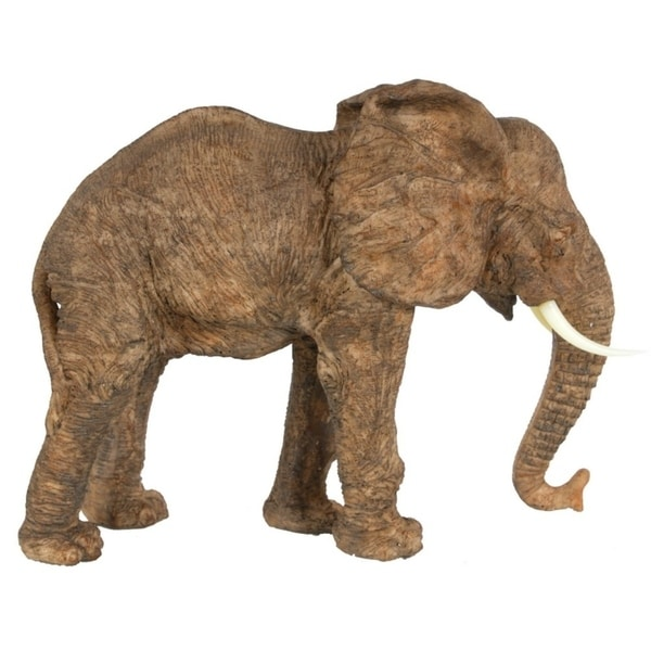 Polyresin Walking Elephant Accent, Brown