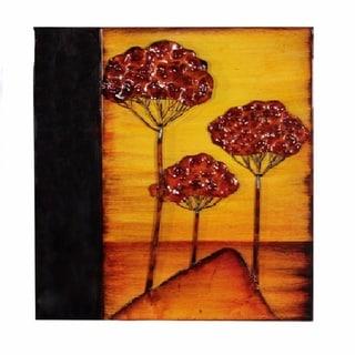 Metal Wall Plaque - Tree, Orange