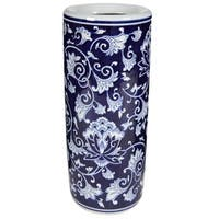 Cylindrical Shaped  Umbrella Stand ,Blue And White