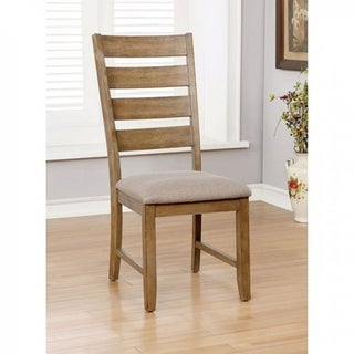 Wooden Side Chair With slatted Back, Pack of 2, Natural Brown